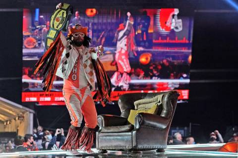"Cleveland Browns fan ""Macho Man"" dances on stage as the Browns are on the clock in the second r ..."