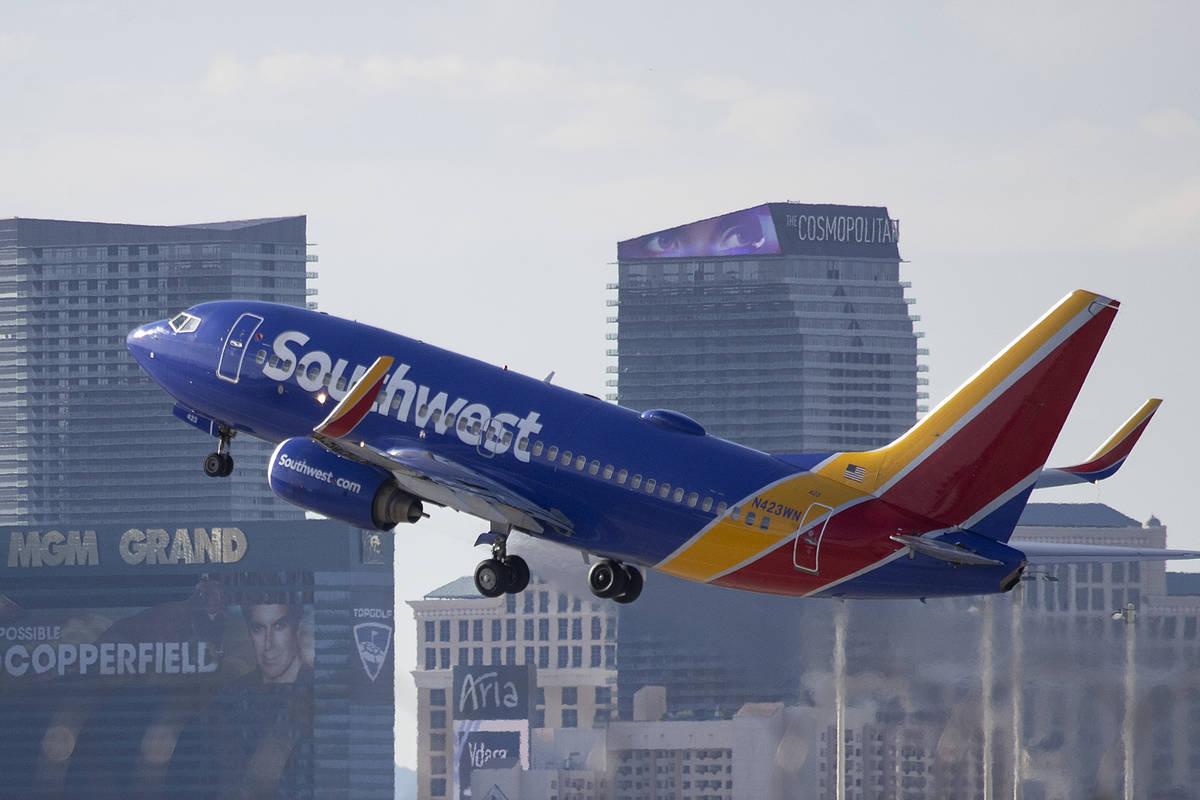 A Southwest airplane departs McCarran International Airport in Las Vegas, Thursday, April 22, 2 ...