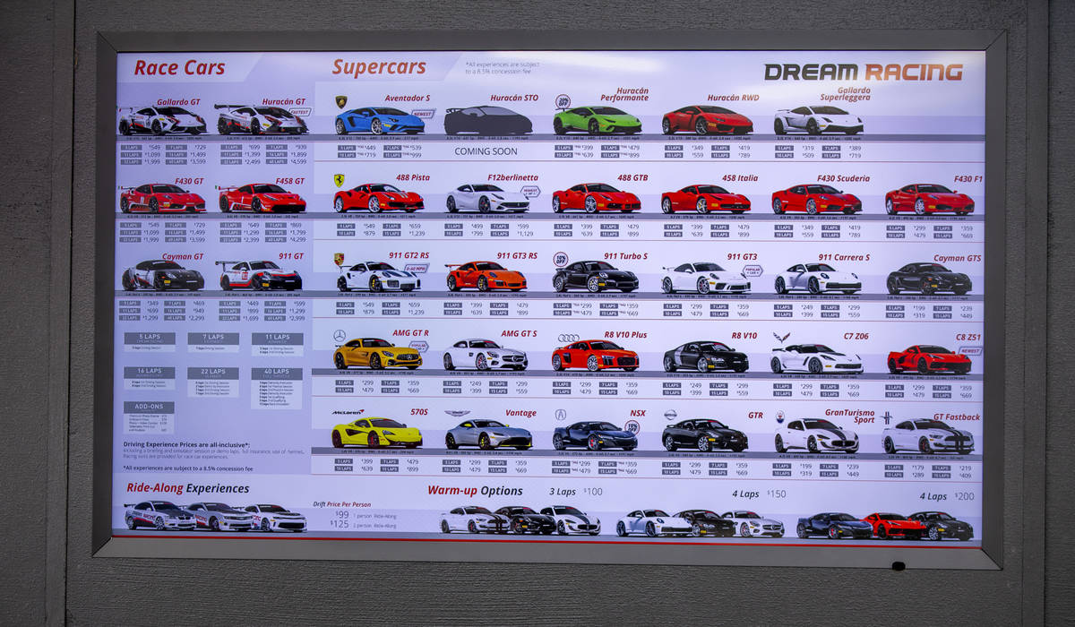 A graphic of the cars one can drive and the cost breakdown at Dream Racing as UNLV coaches brin ...
