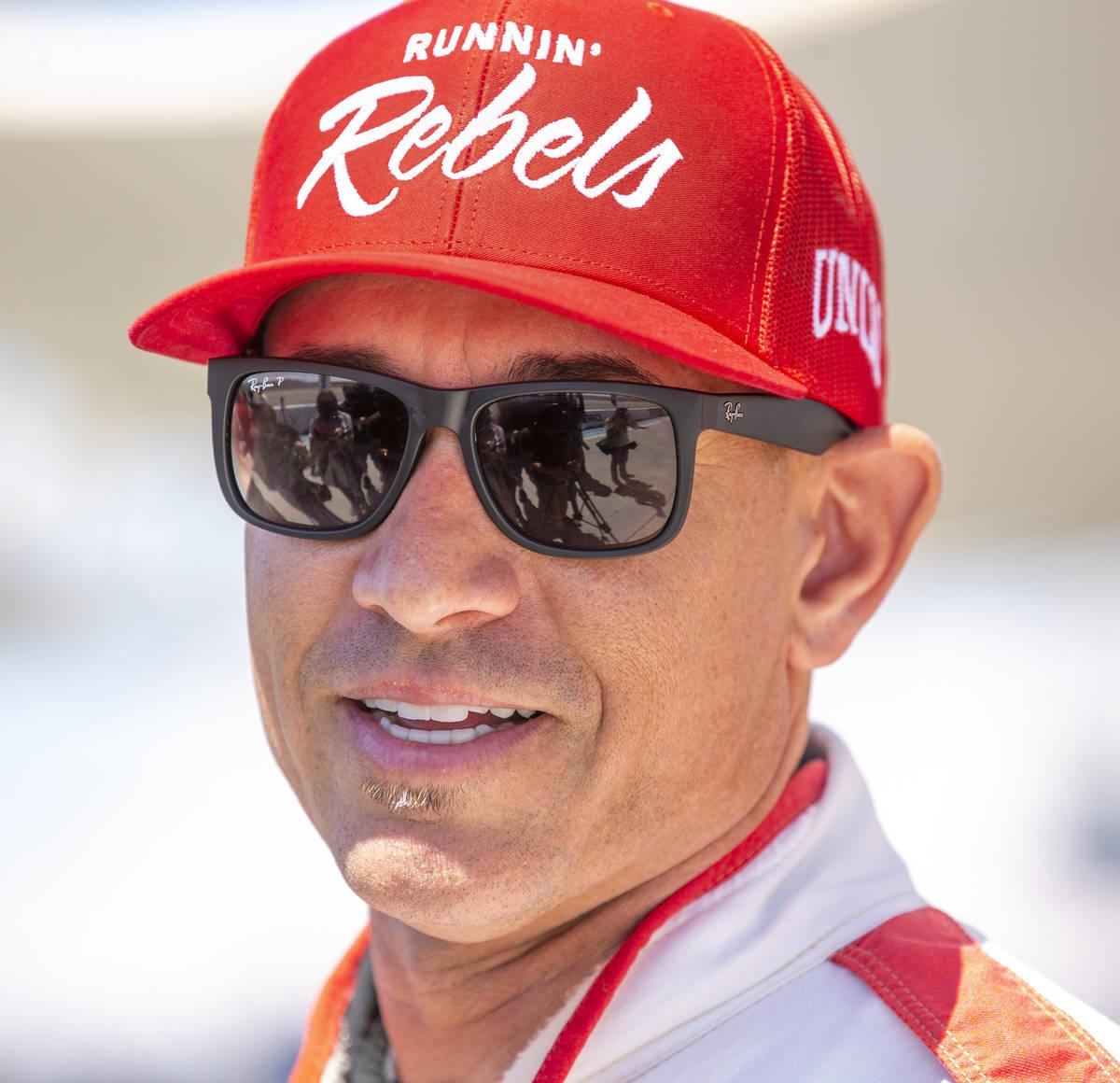 UNLV head football coach Marcus Arroyo speaks after driving a Lamborghini at Dream Racing as UN ...