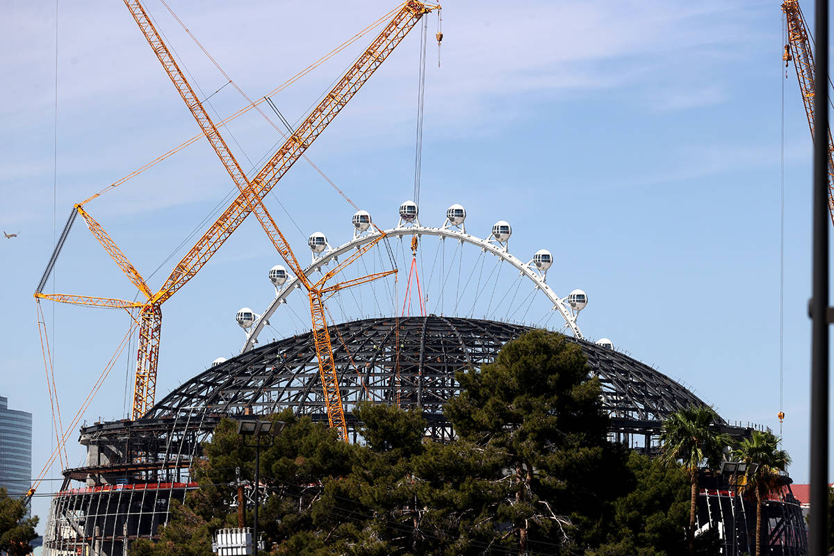 MSG Sphere at the Venetian as the structure begins to take shape with the installation of massi ...