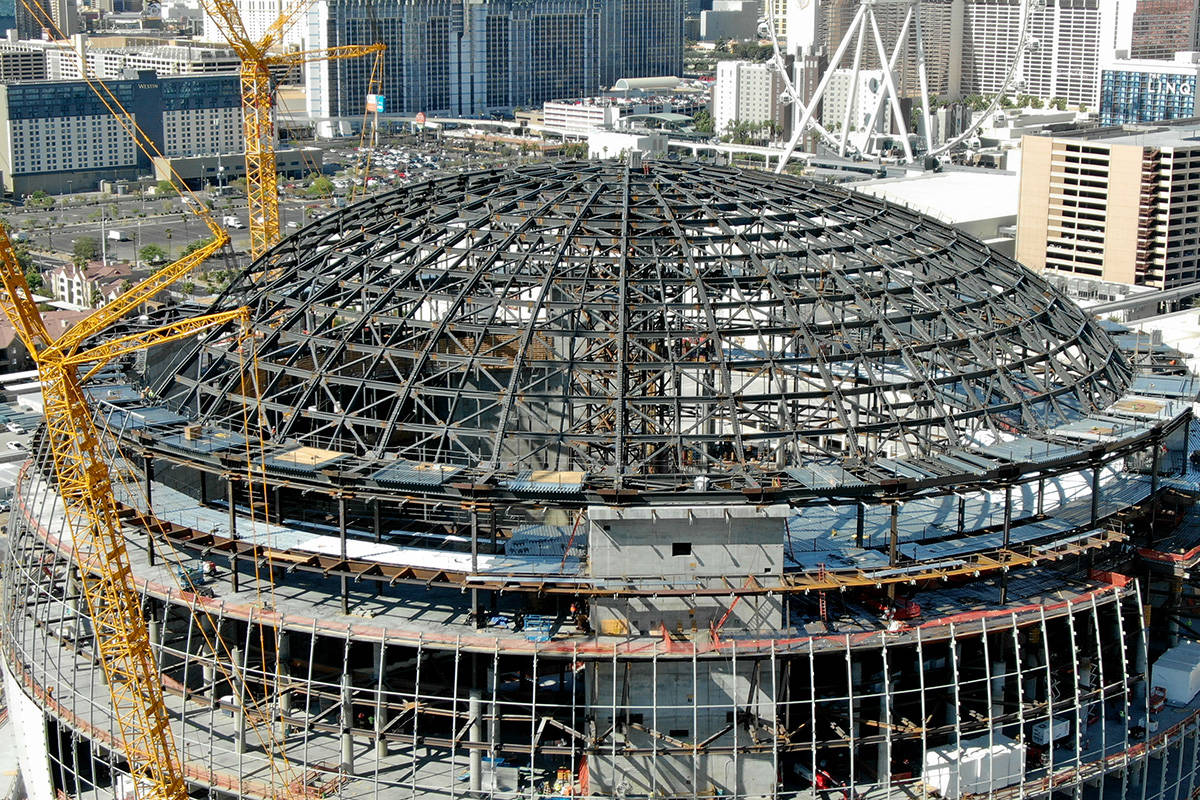 An aerial photo of the MSG Sphere at the Venetian as the structure begins to take shape with th ...