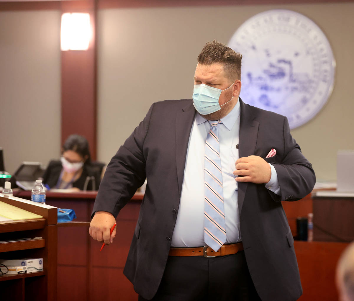 Robert McCoy, attorney for Michelle Dell, owner of Hogs & Heifers questions his client duri ...