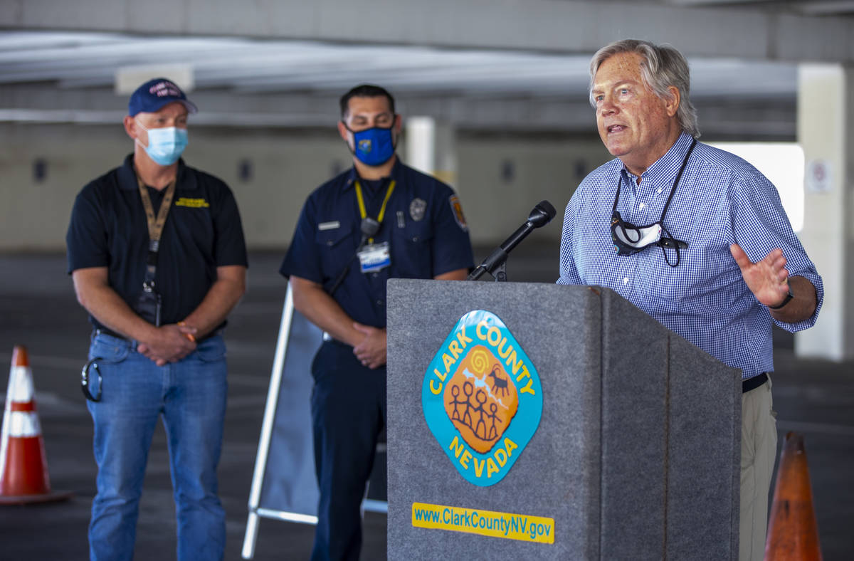 Commissioner Tick Segerblom speaks to the media as Southern Nevada Health District and Clark Co ...