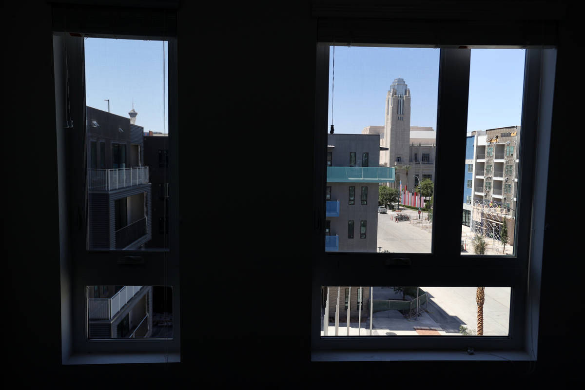 The view from a bedroom in a penthouse at Parc Haven apartment complex at Symphony Park in down ...