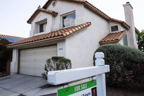 For sale sign is displayed outside of 1856 Spangle Drive, on Friday, May 21, 2021, in Las Vegas ...