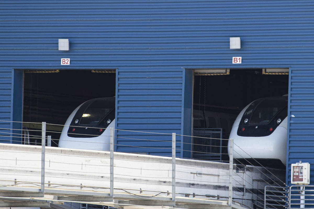 Las Vegas Monorail trains are parked inside Las Vegas Monorail Garage at Joe W. Brown Drive nea ...