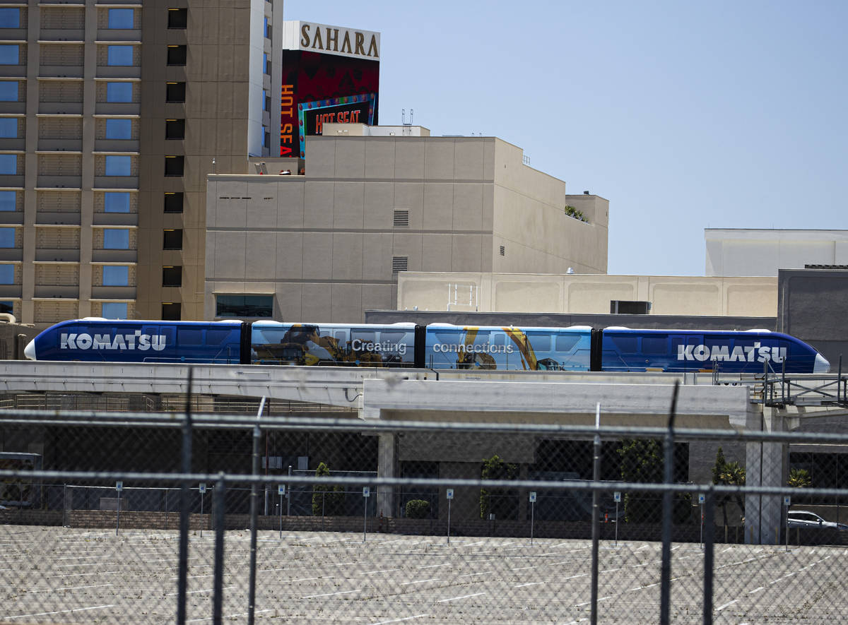 A Las Vegas Monorail is parked at Sahara stop, near Sahara Las Vegas, on Tuesday, May 11, 2021, ...