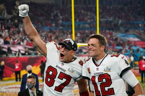 Tampa Bay Buccaneers tight end Rob Gronkowski, left, and quarterback Tom Brady celebrate after ...