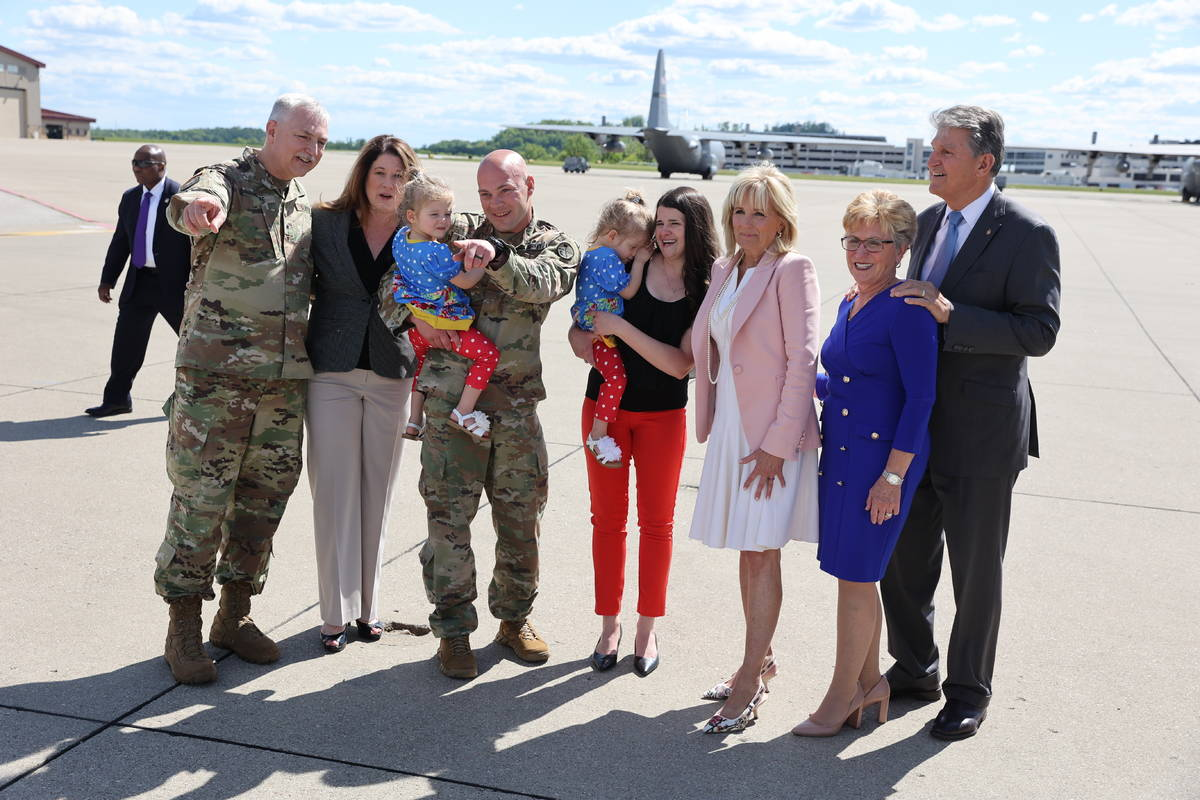 First lady Jill Biden arrives in Charleston, W.Va., Thursday, May 13, 2021. (Oliver Contreras/T ...