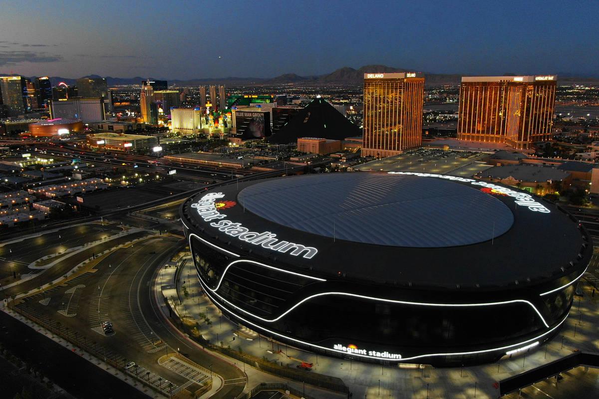 Aerial view of Allegiant Stadium on Friday, July 31, 2020, in Las Vegas. (Michael Quine/Las Veg ...