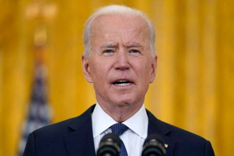 President Joe Biden speaks about the economy, in the East Room of the White House, Monday, May ...