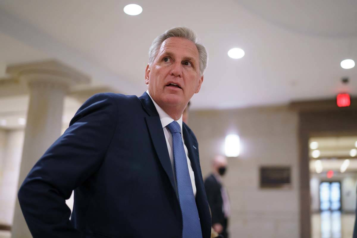 House Minority Leader Kevin McCarthy, R-Calif., and fellow Republicans gather to consider a rep ...