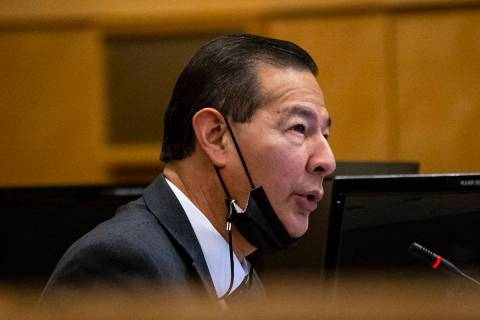 Las Vegas city manager Jorge Cervantes speaks during a Las Vegas City Council meeting in Las Ve ...