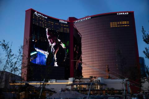 Resorts World Las Vegas is seen in Las Vegas, Friday, April 23, 2021. (Erik Verduzco / Las Vega ...