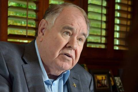South Point hotel-casino owner Michael Gaughan is shown during an interview at the property at ...