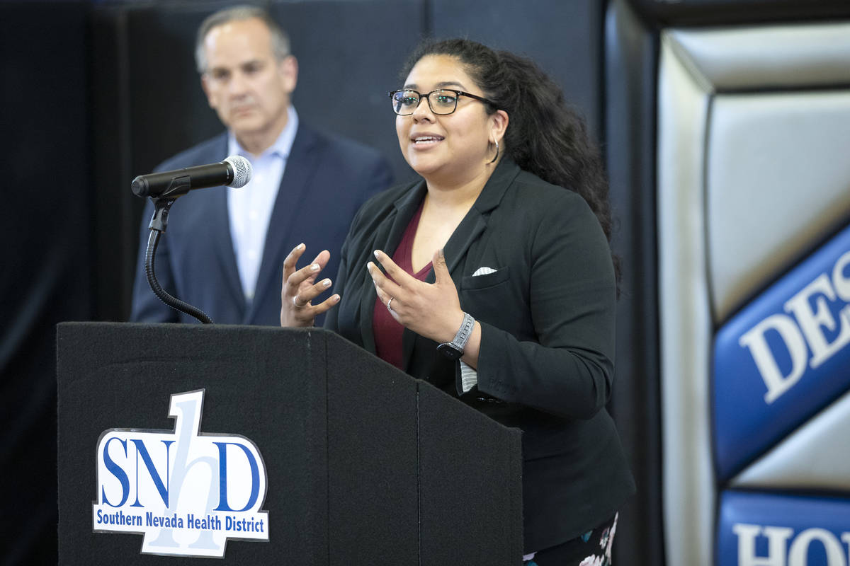 Clark County School District trustee Irene Cepeda speaks to the press before a Southern Nevada ...