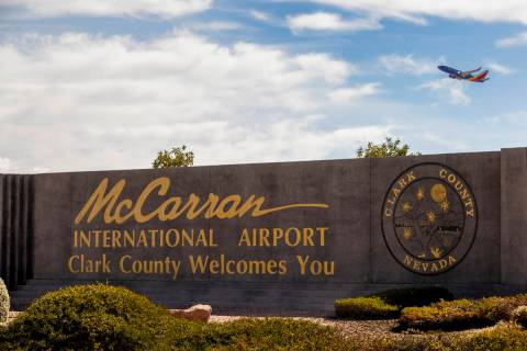 Sign for McCarran International Airport in Las Vegas. Electrical issues at the airport are affe ...