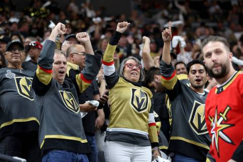 Fans celebrates the Vegas Golden Knights win 3-2 against the Colorado Avalanche in Game 3 of a ...
