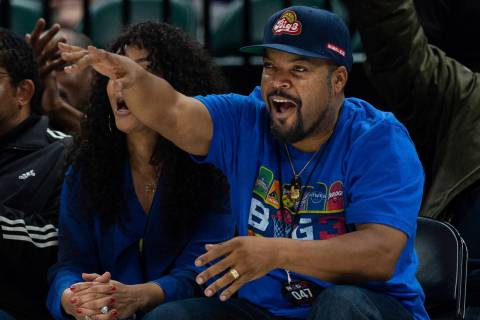 INDIANAPOLIS: Ice Cube reacts to a score during the Big3 basketball game between the Killer 3's ...