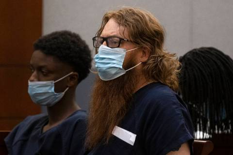 Mark Moden, 46, appears in court at the Regional Justice Center on Tuesday, June 8, 2021, in La ...