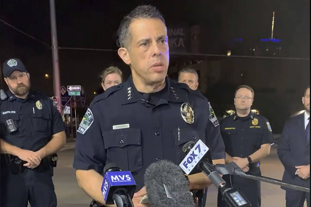 This photo provided by Austin Police Department shows Chief Chacon providing an update on overn ...
