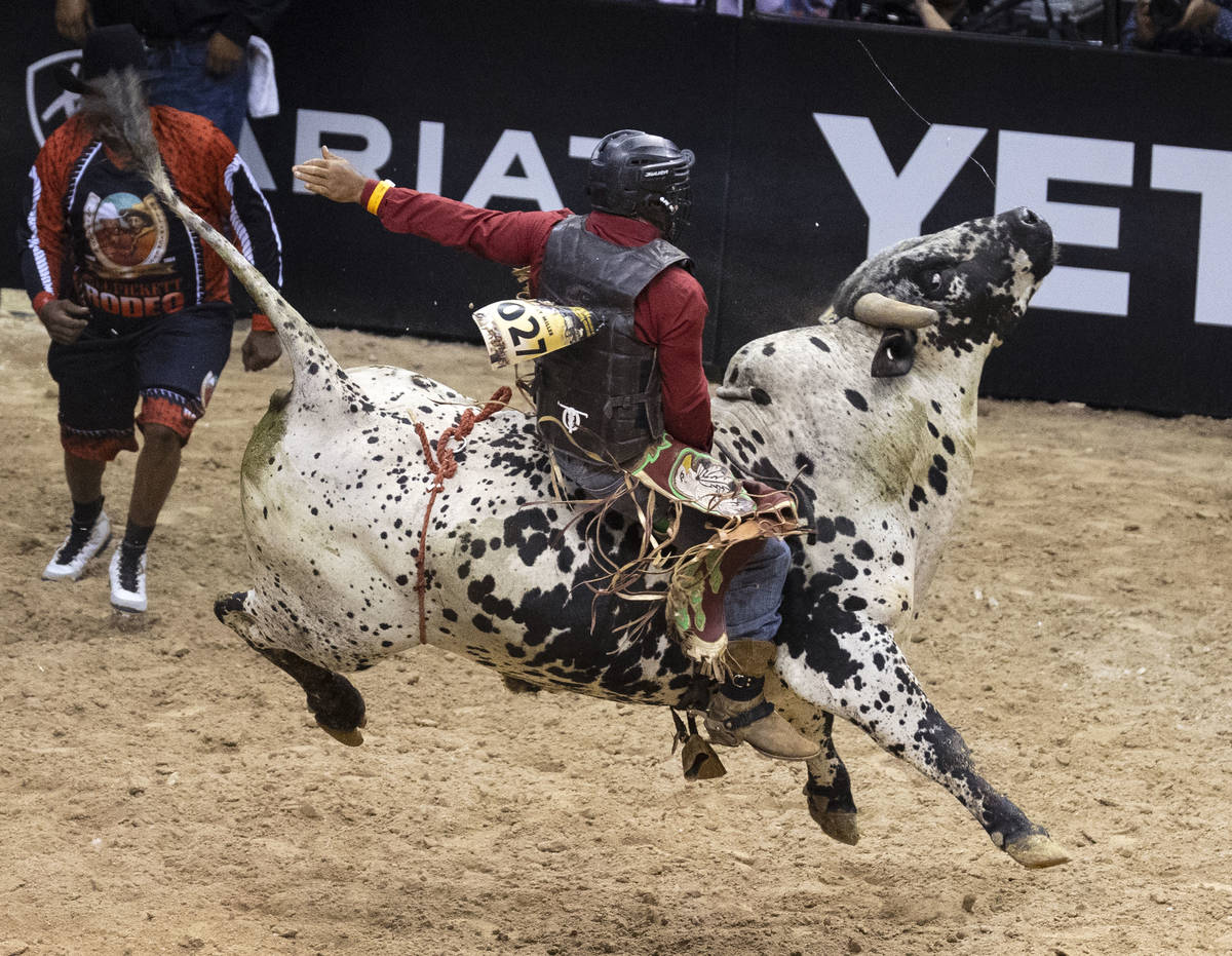 Jay Miller, of Liberty, S.C., rides Hulk while competing Bull Riding at the Bill Pickett Invita ...
