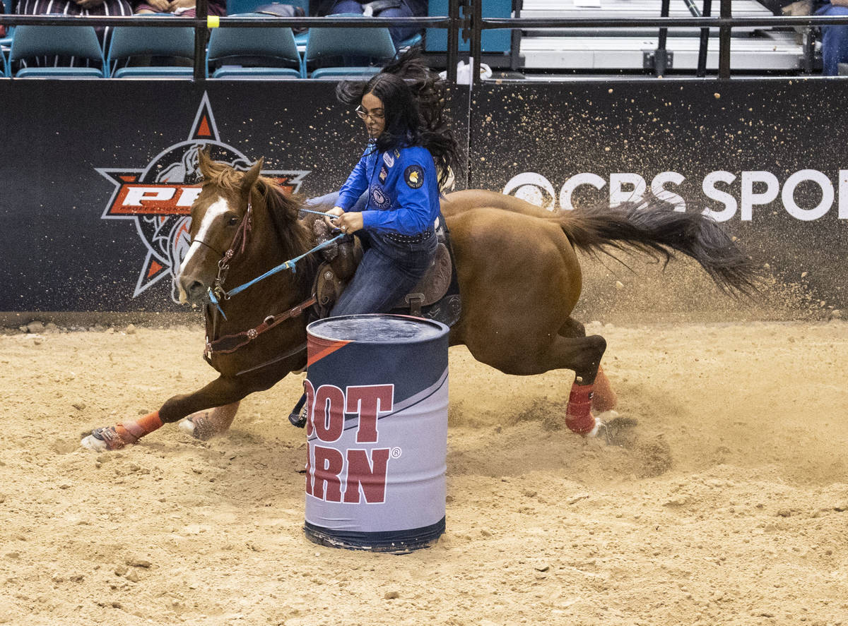 Aleeyah Roberts, of Colorado Springs, Colo., participates in the barrel race competition at the ...