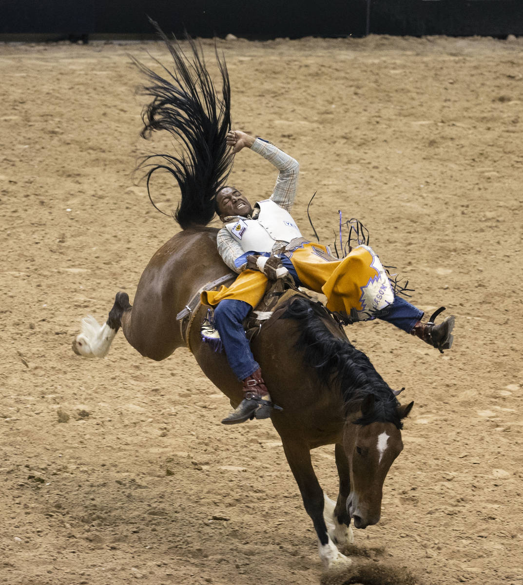 Harold Miller, of Liberty S.C., participates in bareback riding competition at the Bill Pickett ...