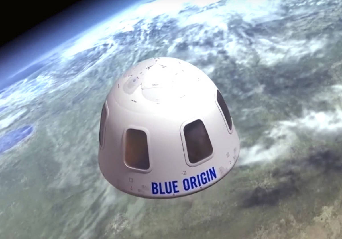 This undated file illustration provided by Blue Origin shows the capsule that the company aims ...