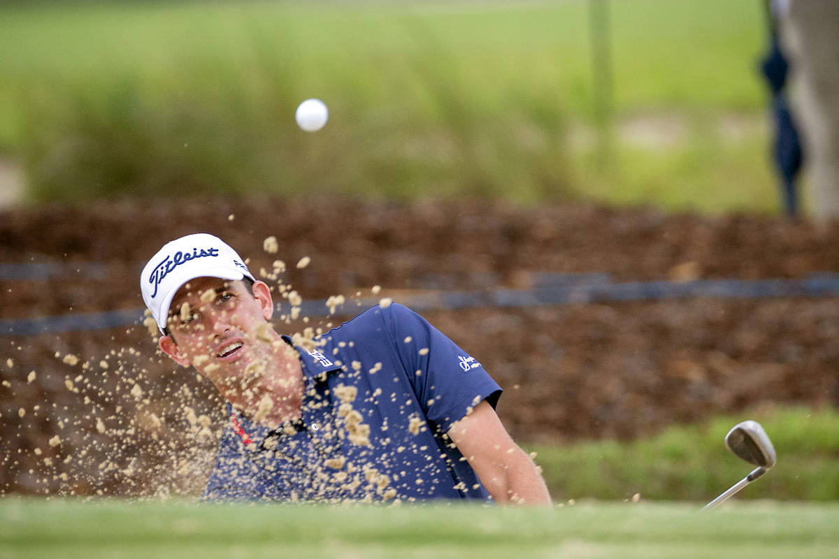 Chesson Hadley hits out of the bunker on the the second green during the final round of the Pal ...