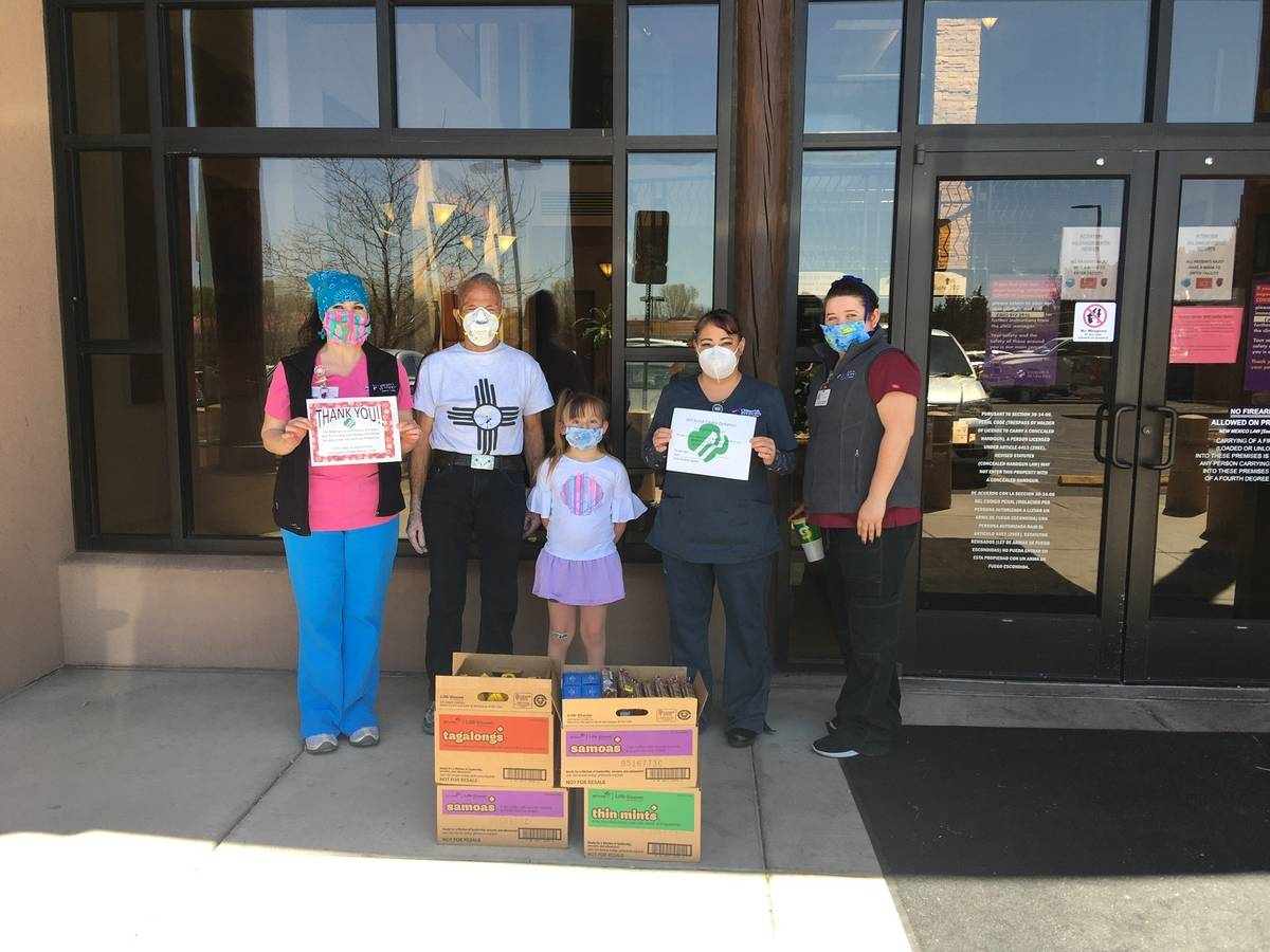 This April 30, 2020 image provided by Girl Scouts of New Mexico Trails shows health care worker ...