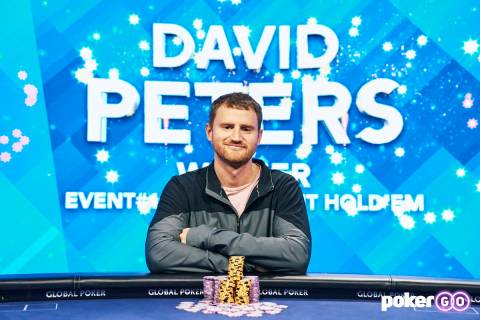 David Peters after winning the $25,000 buy-in No-limit Hold'em event of the U.S. Poker Open on ...