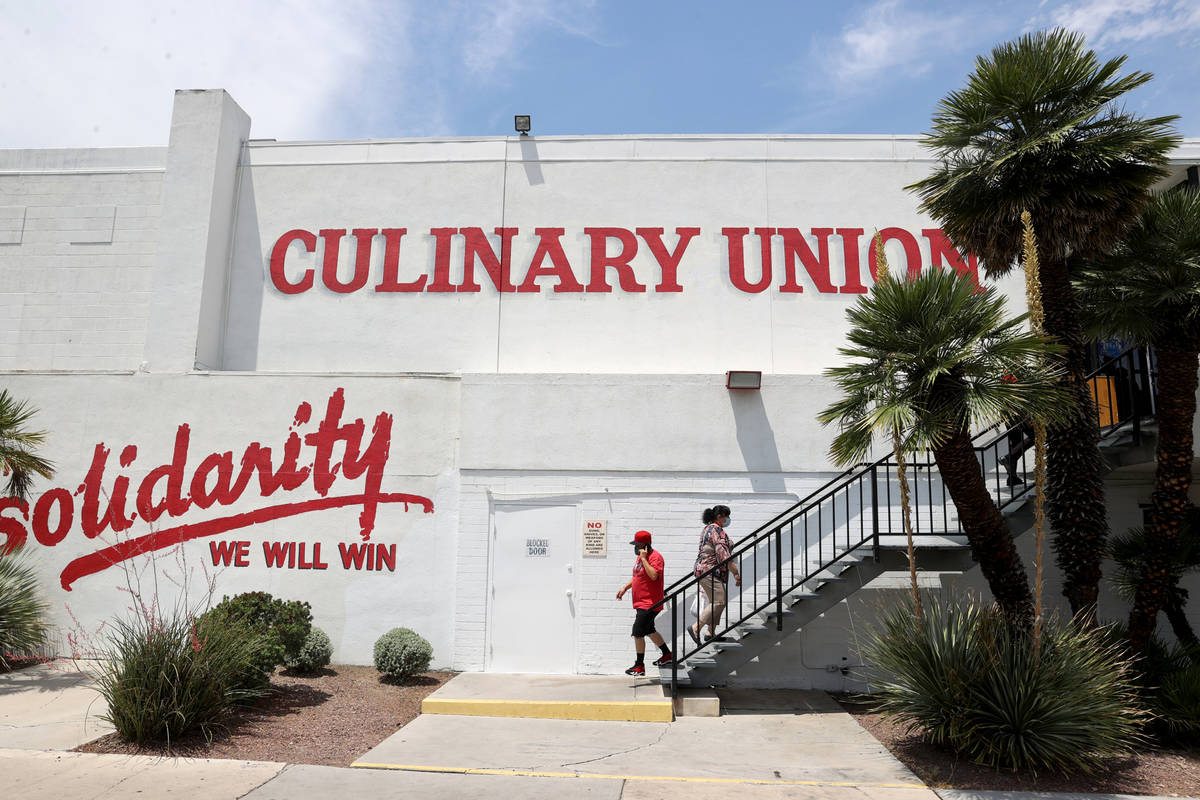 Culinary Workers Union Local 226 members arrive at their union hall in downtown Las Vegas Tuesd ...
