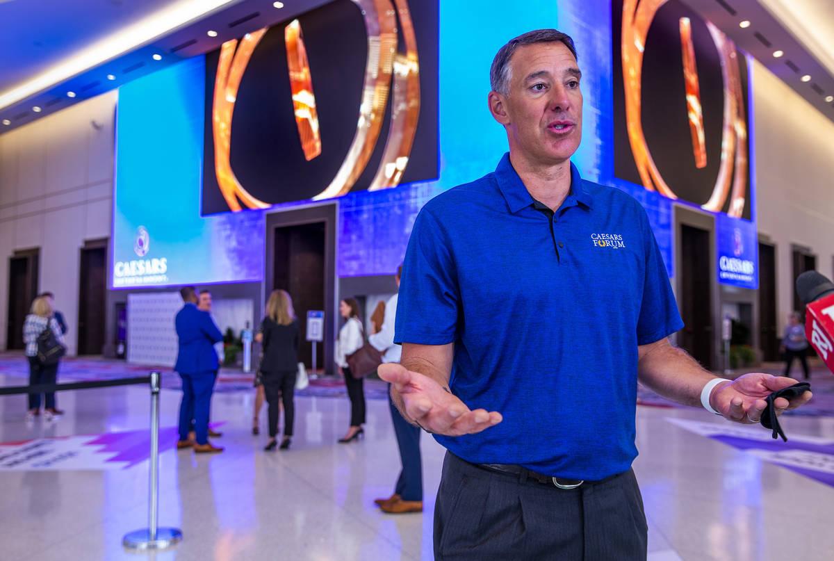 Caesars Entertainment Chief Sales Officer Michael Massari talks before the Meeting Professional ...
