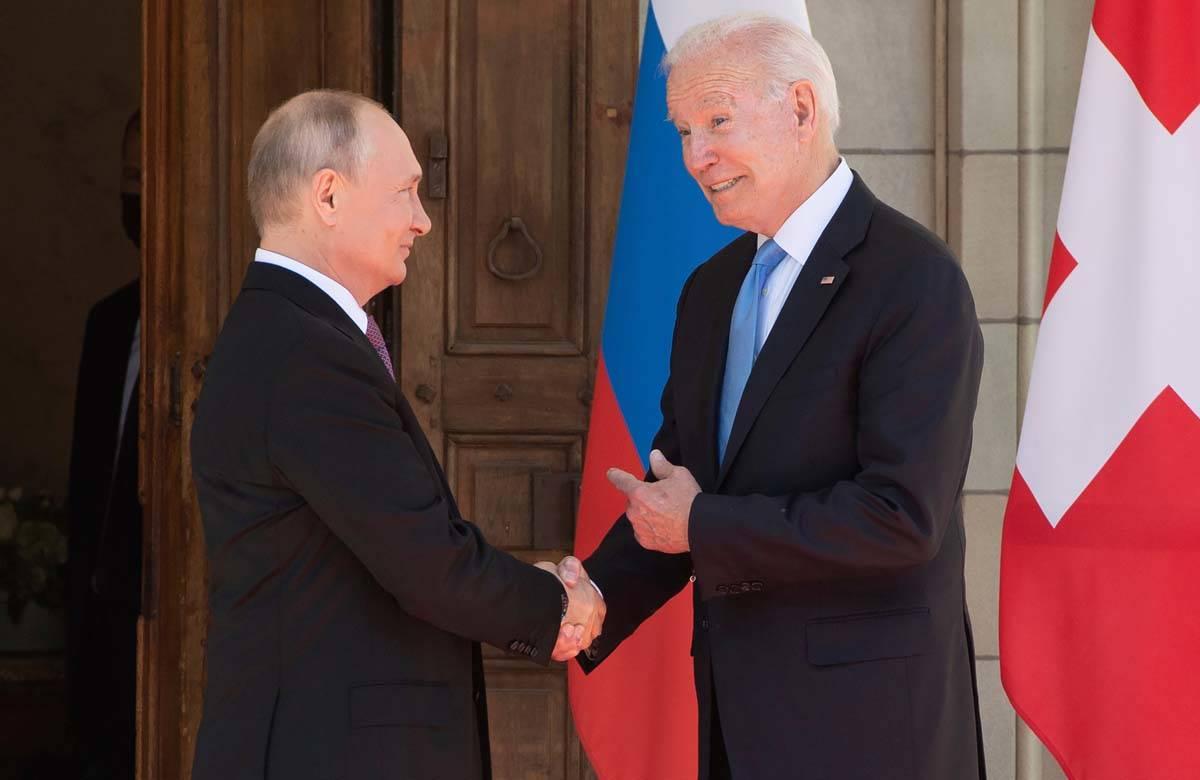 President Joe Biden and Russian President Vladimir Putin, arrive to meet at the 'Villa la Grang ...