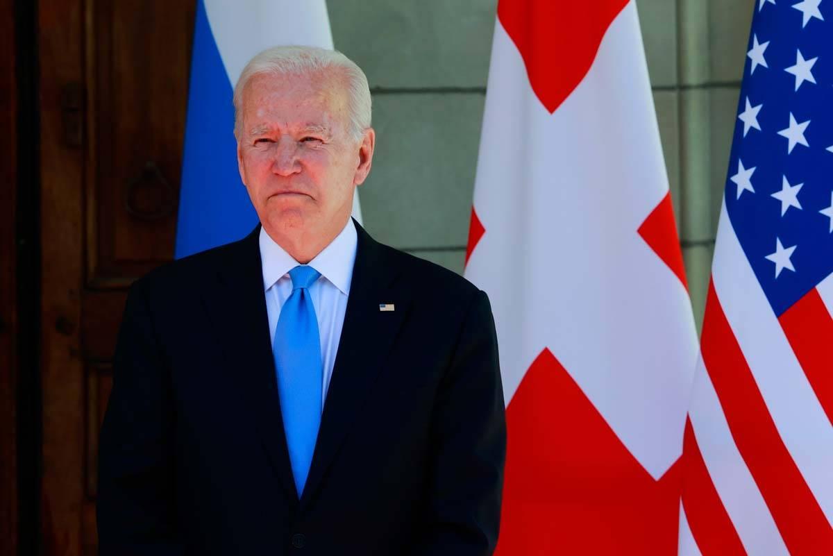U.S. President Joe Biden looks on as he arrives for the U.S.-Russia summit, at Villa La Grange ...