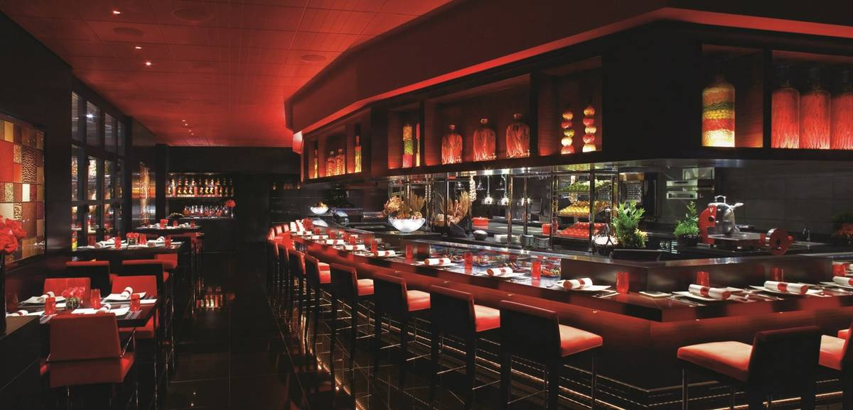 The interior of L'Atelier Joel Robuchon, with open kitchen. (MGM Resorts International)