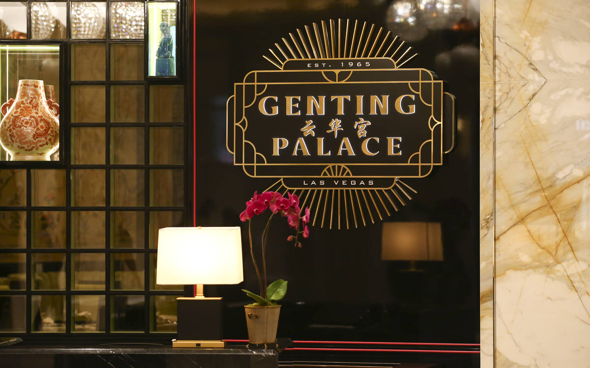 Signage for Genting Palace restaurant is seen during a tour of Resorts World ahead of it's open ...