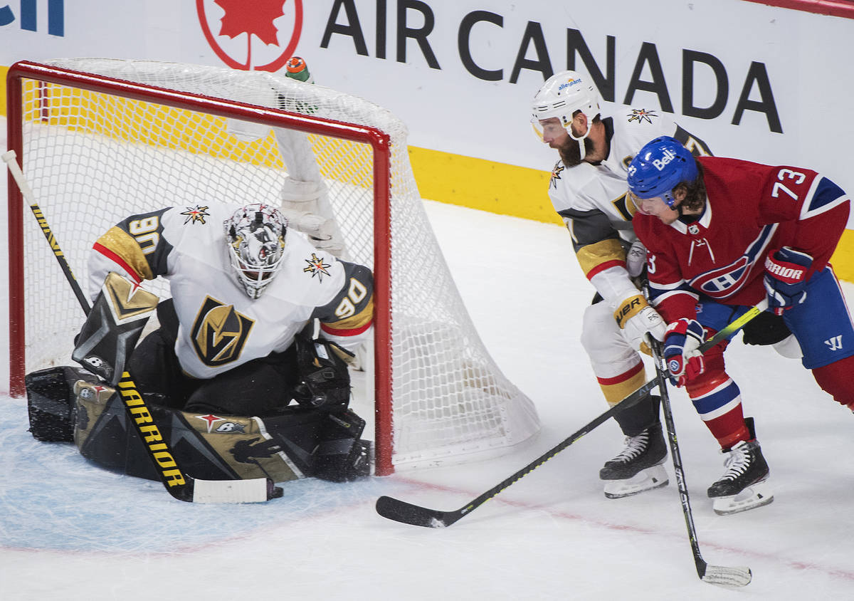 Montreal Canadiens' Tyler Toffoli (73) moves in against Vegas Golden Knights goaltender Robin L ...