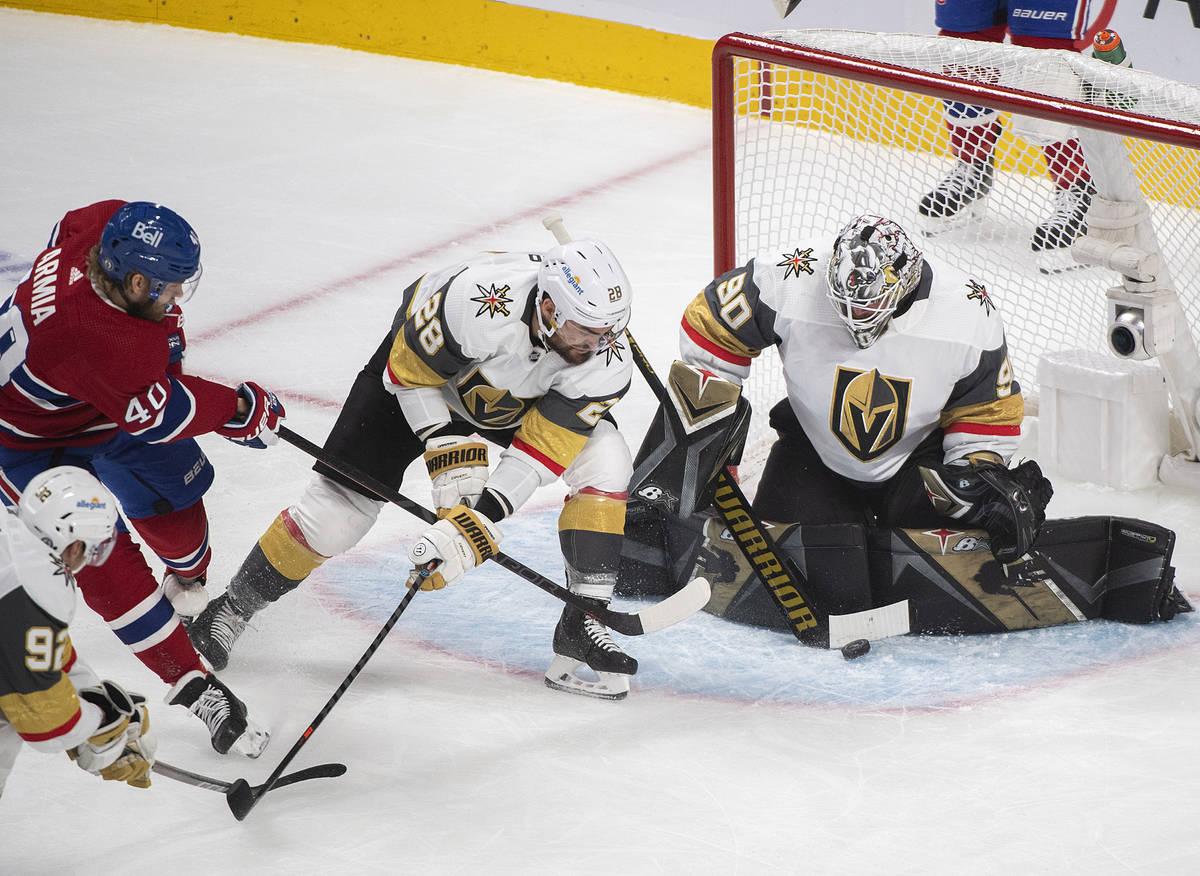 Montreal Canadiens' Joel Armia (40) shoots against Vegas Golden Knights goaltender Robin Lehner ...