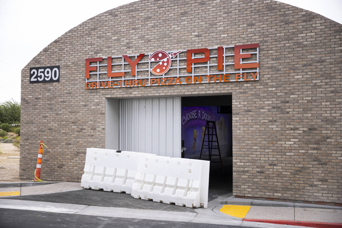 The Fly Pie pizza drive-thru is at the intersection of St. Rose Parkway and Coronado Center Dri ...