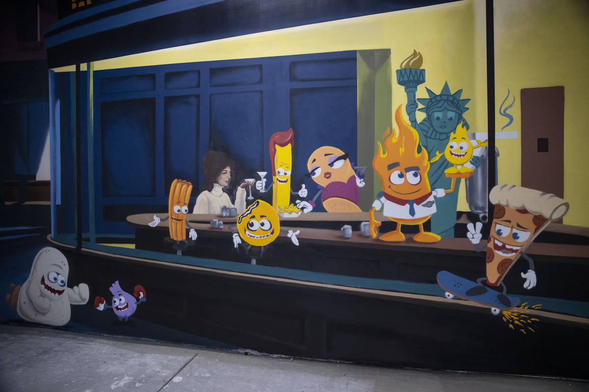 A mural at the Fly Pie pizza drive-thru at the intersection of St. Rose Parkway and Coronado Ce ...
