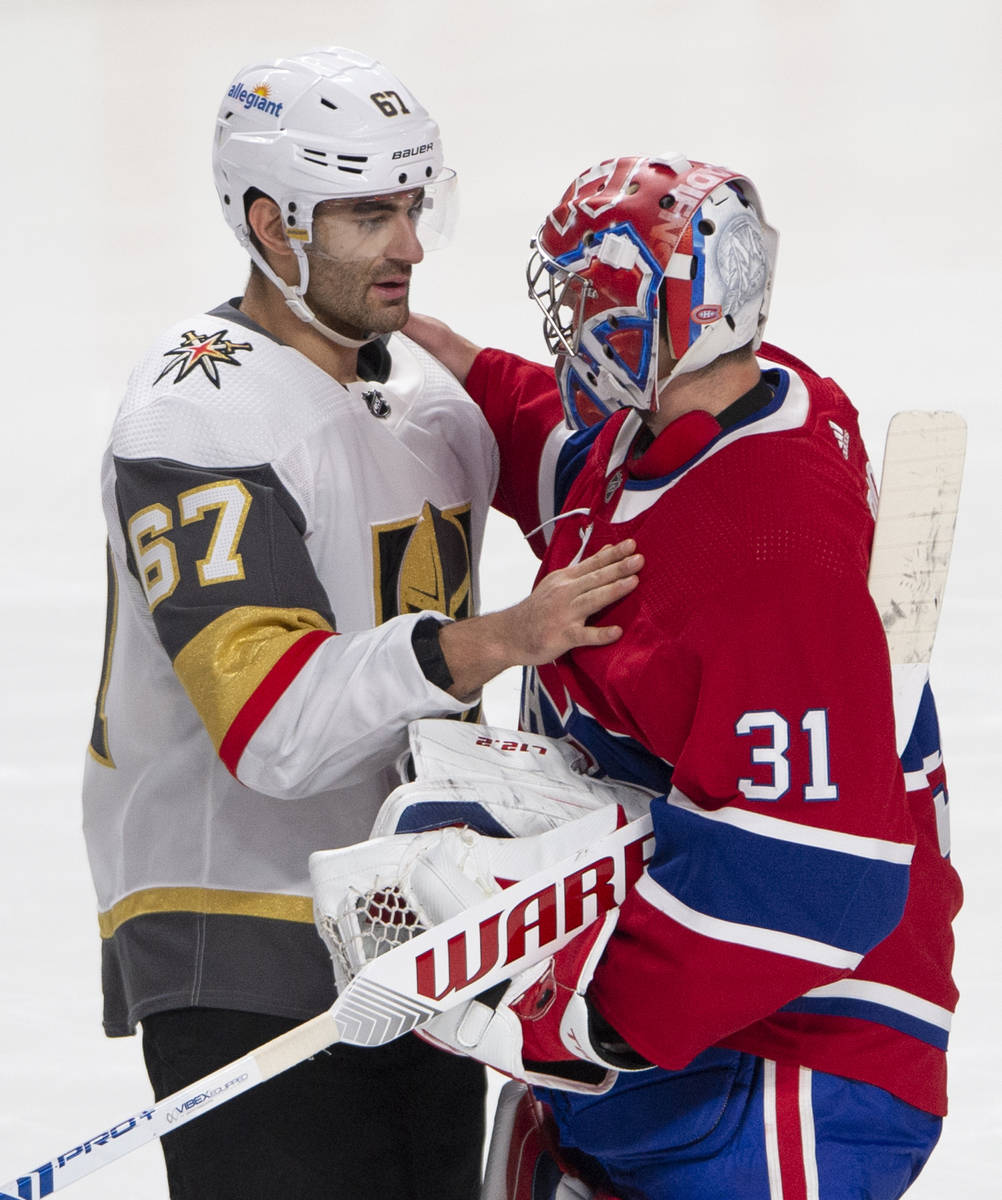 Vegas Golden Knights left wing Max Pacioretty (67) congratulates Montreal Canadiens goaltender ...