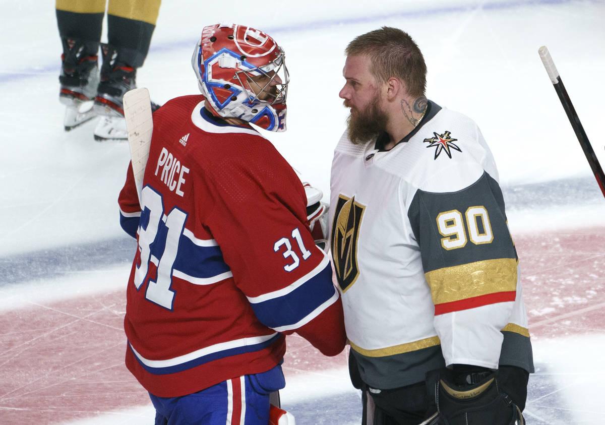 Vegas Golden Knights' Robin Lehner (90) congratulates his Montreal Canadiens counterpart Carey ...