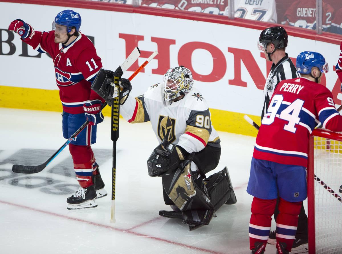Vegas Golden Knights goaltender Robin Lehner (90) watches as Montreal Canadiens right wing Bren ...