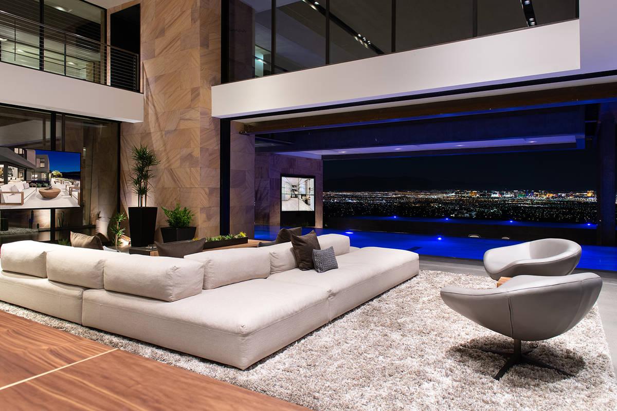 Living area of luxury home in MacDonalds Highlands in Henderson (Blue Heron)