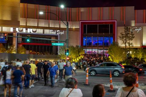 Pedestrians and auto traffic is heavy for the Resorts World Las Vegas grand opening along the S ...
