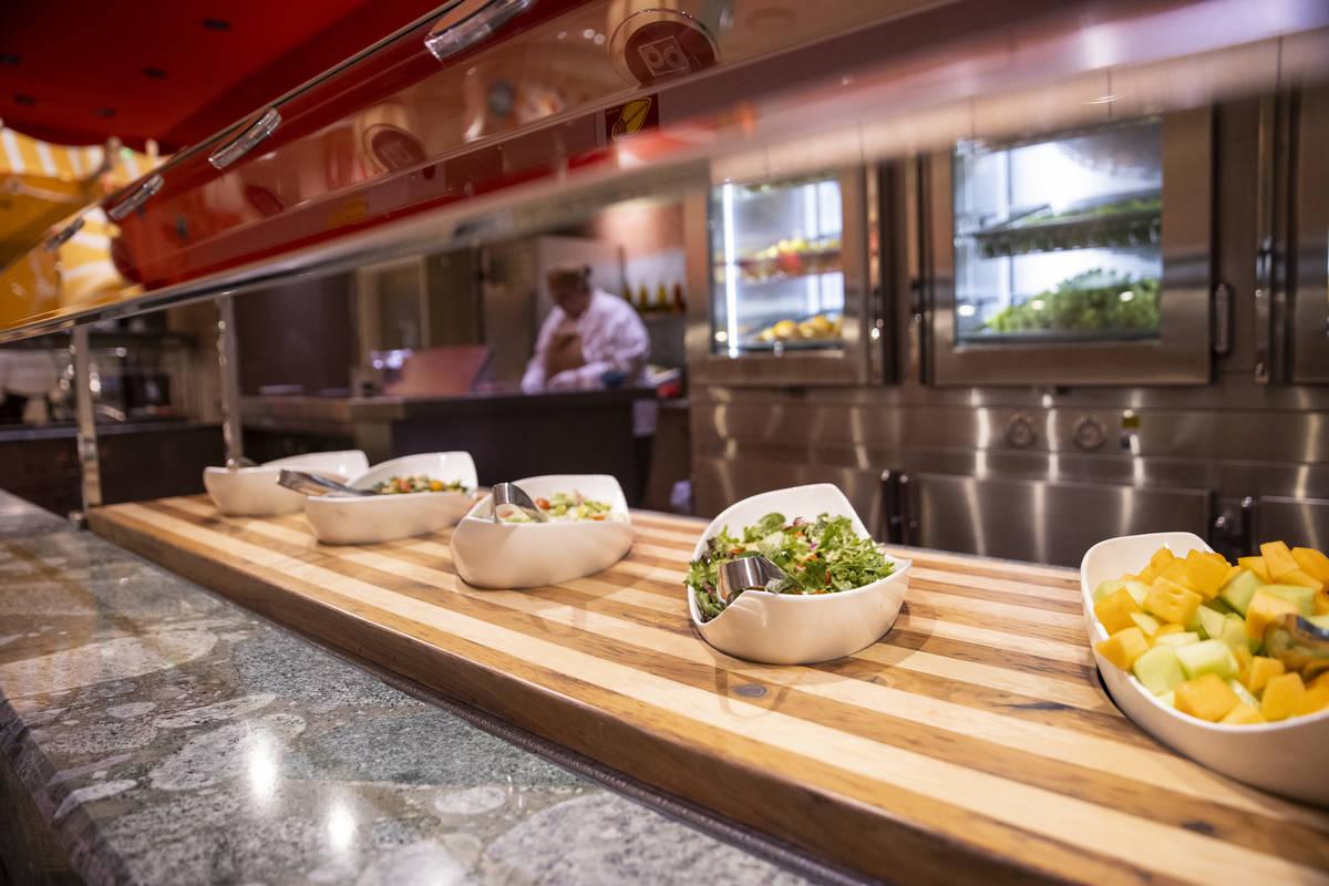 The salad station at The Buffet at Wynn Las Vegas, Wednesday, June 30, 2021 in Las Vegas. (Erik ...