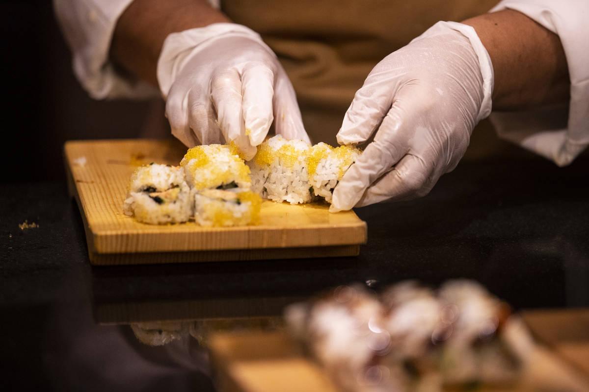 Sushi is prepares at The Buffet at Wynn Las Vegas, Wednesday, June 30, 2021 in Las Vegas. (Erik ...